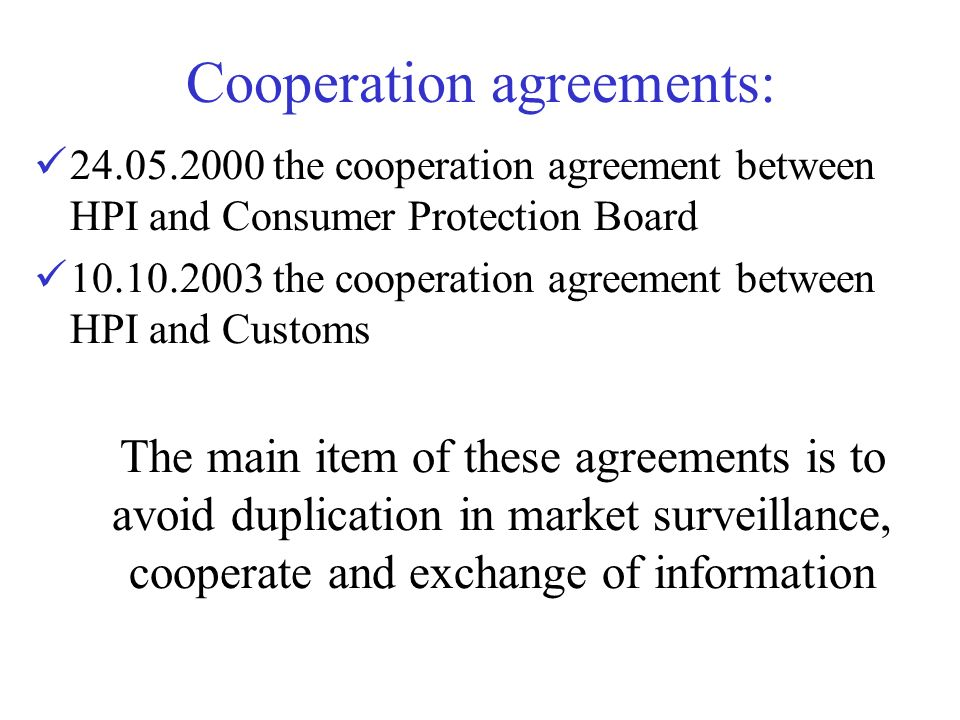 Cooperation agreements: