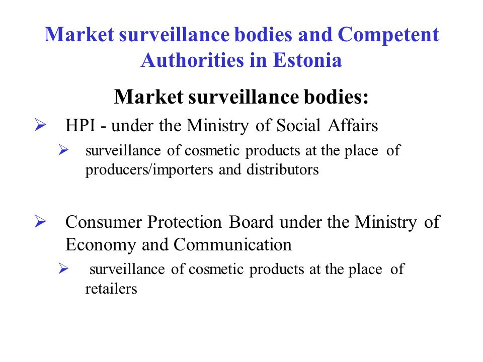 Market surveillance bodies and Competent Authorities in Estonia