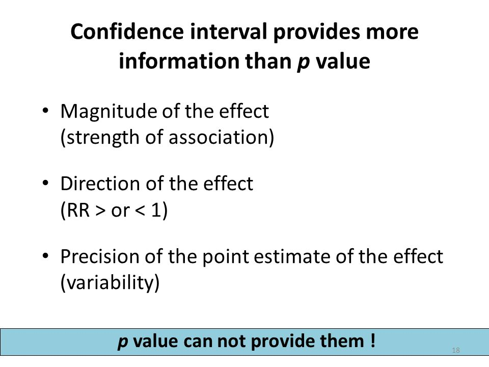 Confidence interval provides more information than p value