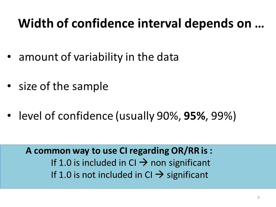 Width of confidence interval depends on …