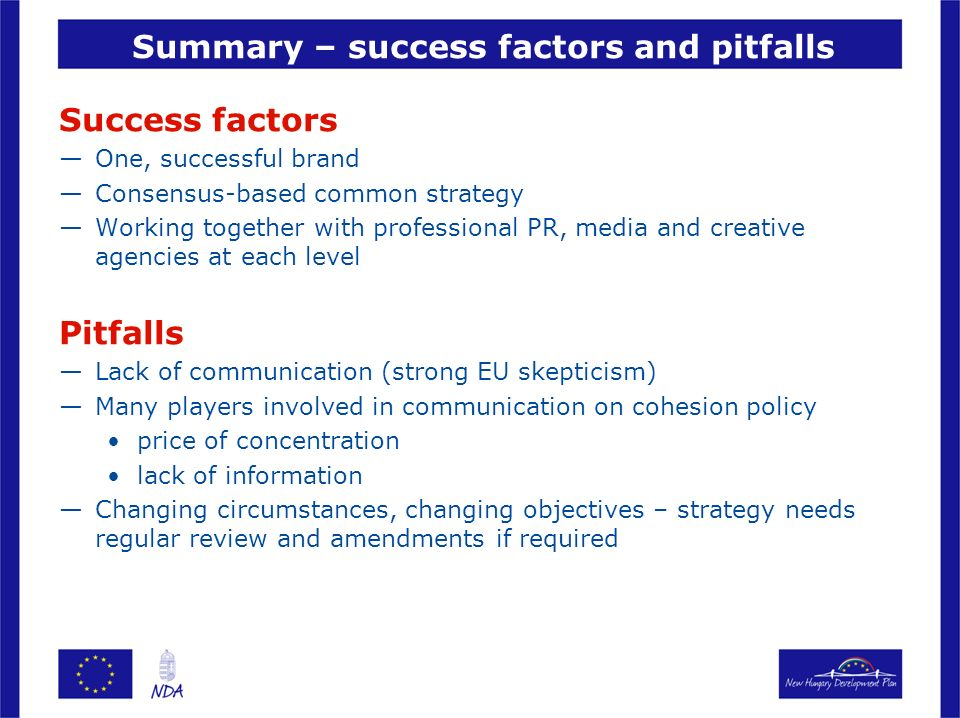 Summary – success factors and pitfalls