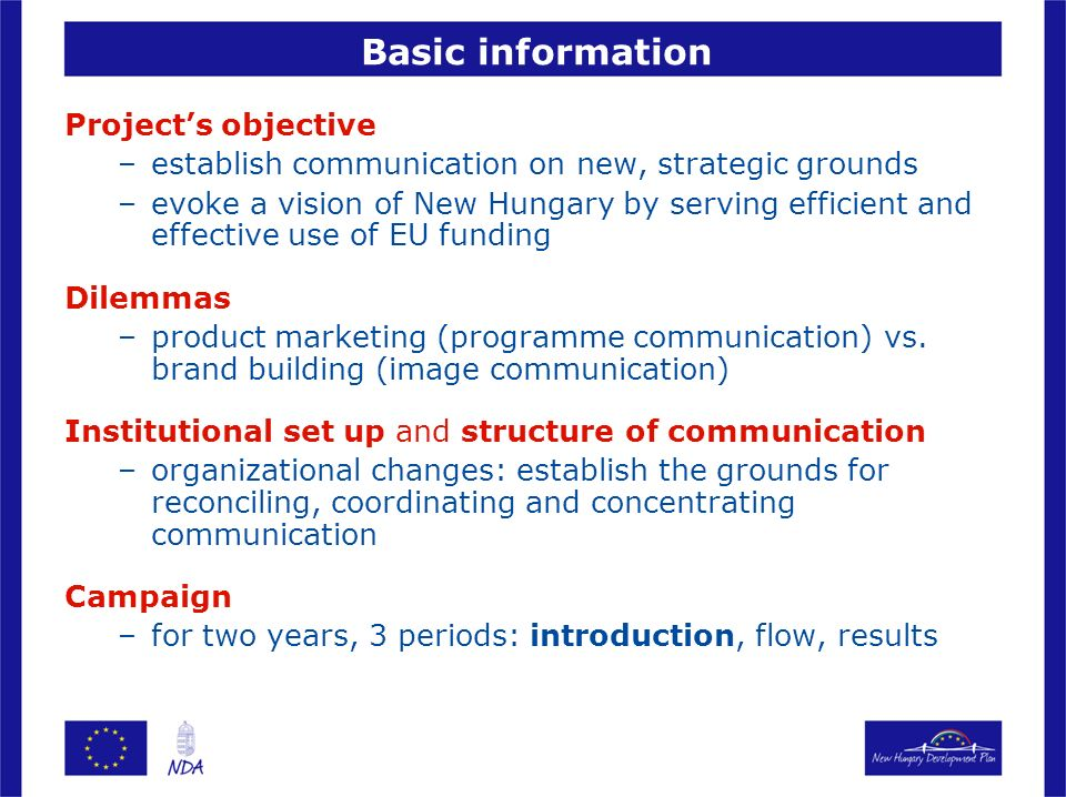 Basic information Project's objective