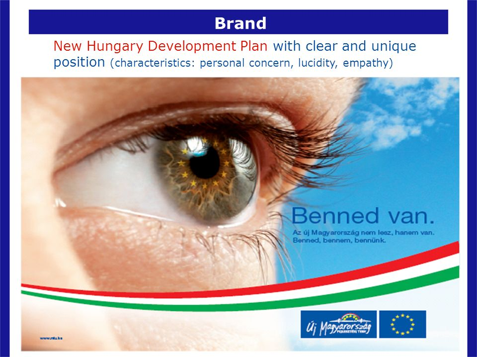 Brand New Hungary Development Plan with clear and unique position (characteristics: personal concern, lucidity, empathy)