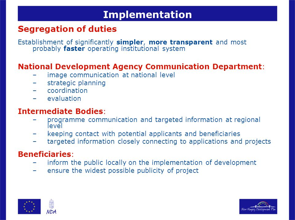 Implementation Segregation of duties