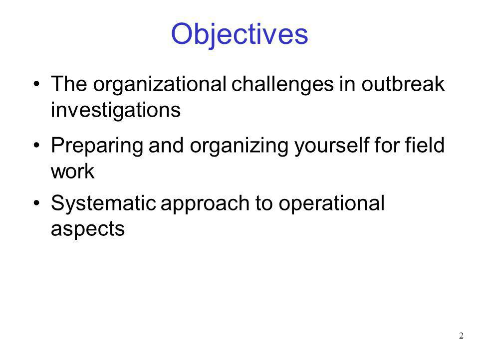 Objectives The organizational challenges in outbreak investigations