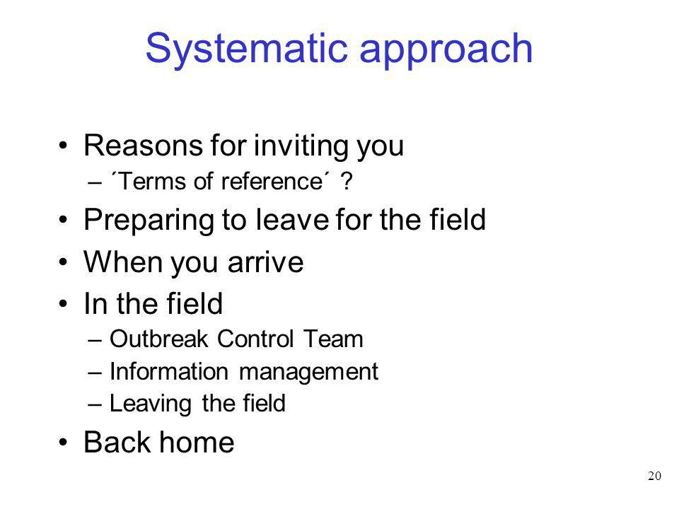 Systematic approach Reasons for inviting you