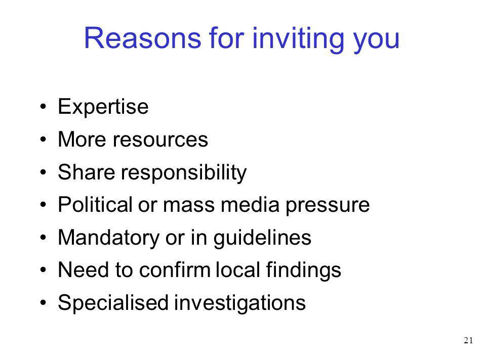 Reasons for inviting you
