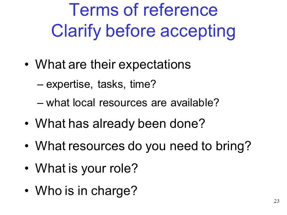 Terms of reference Clarify before accepting