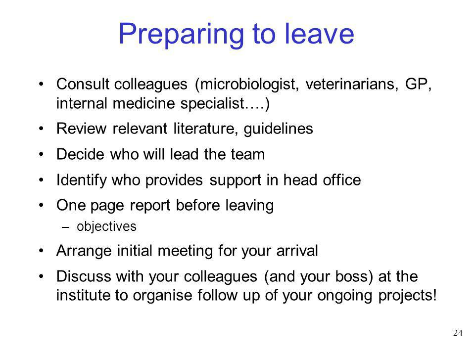 Preparing to leave Consult colleagues (microbiologist, veterinarians, GP, internal medicine specialist….)