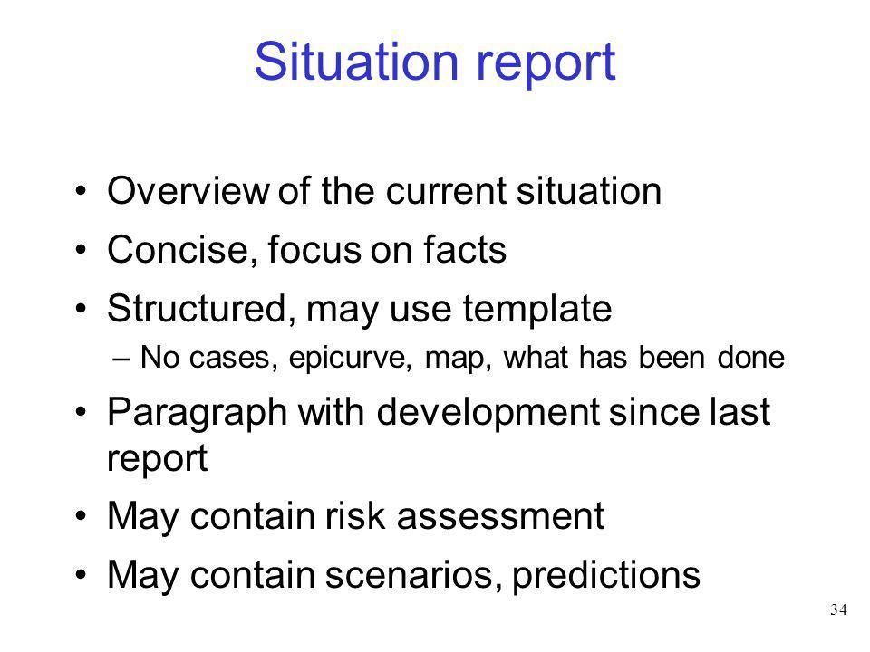 Situation report Overview of the current situation