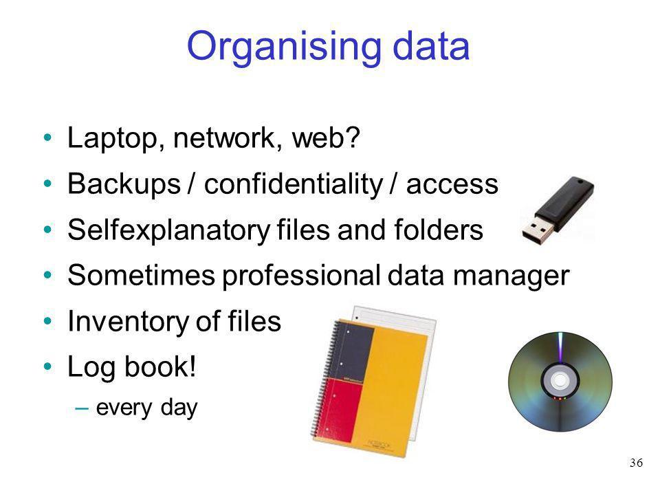 Organising data Laptop, network, web