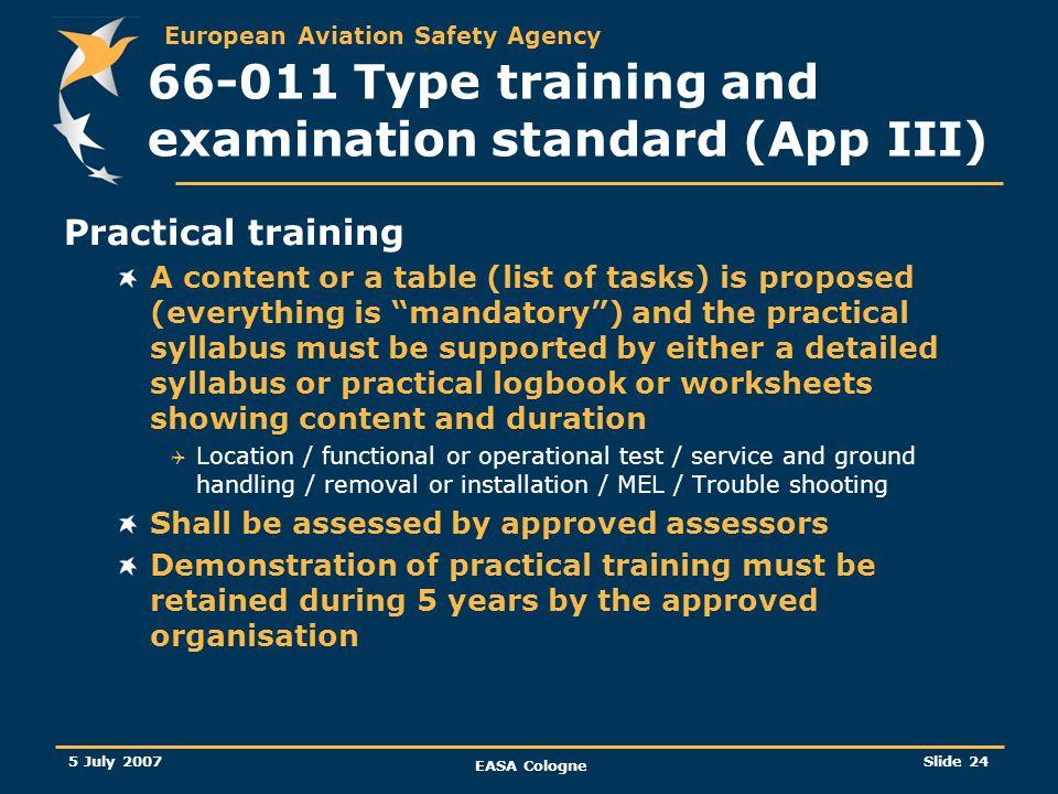 66-011 Type training and examination standard (App III)