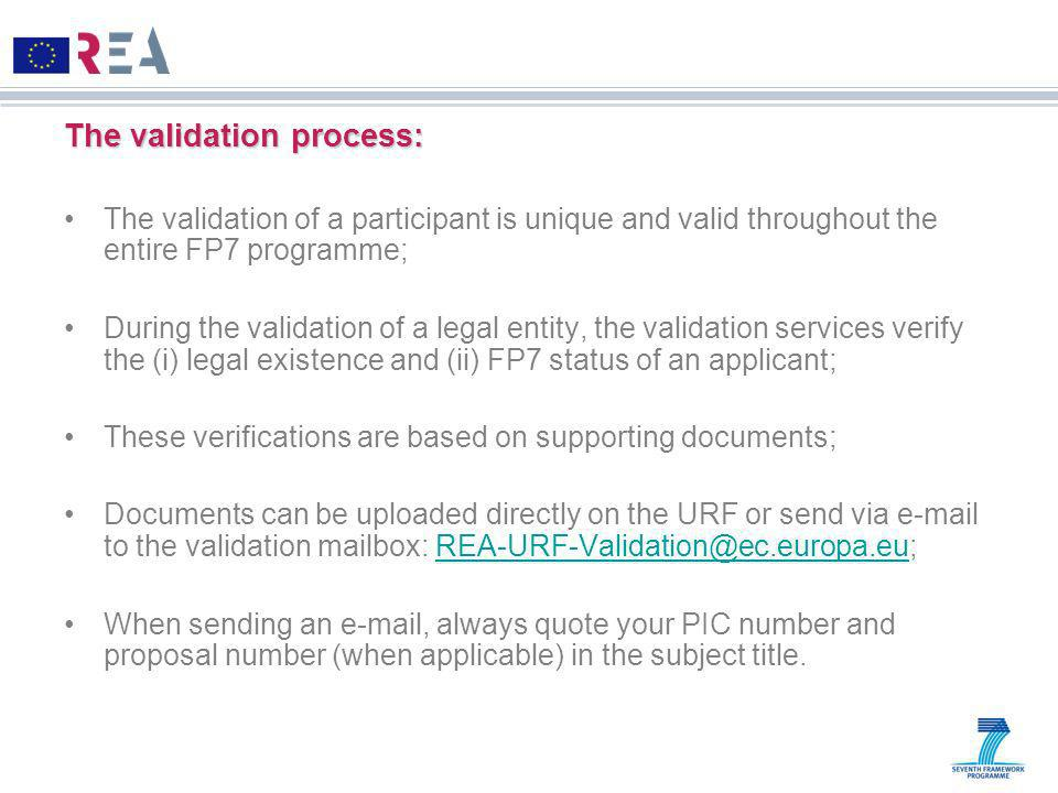 The validation process: