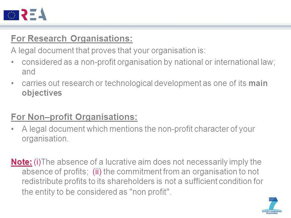 For Research Organisations: