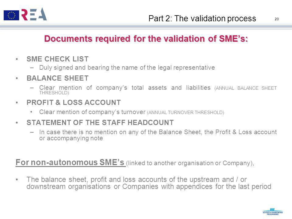 Documents required for the validation of SME's: