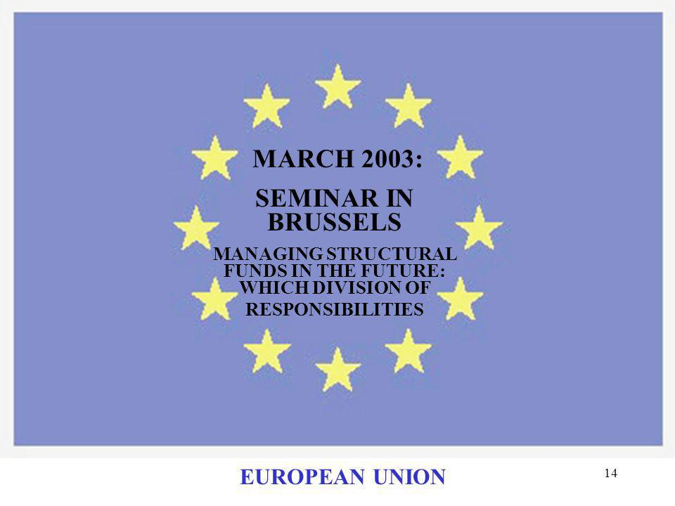 MARCH 2003: SEMINAR IN BRUSSELS