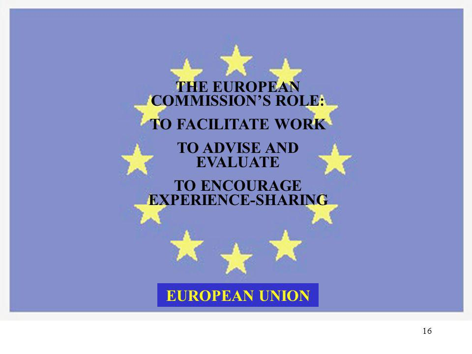 THE EUROPEAN COMMISSION'S ROLE: TO ENCOURAGE EXPERIENCE-SHARING