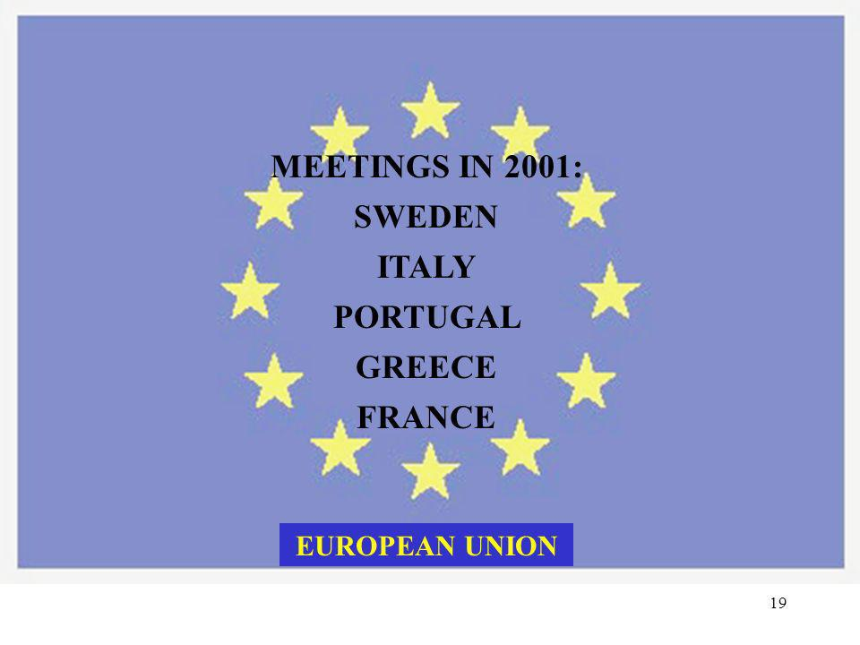 MEETINGS IN 2001: SWEDEN ITALY PORTUGAL GREECE FRANCE