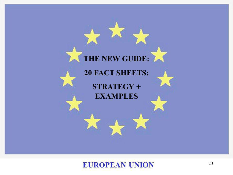 THE NEW GUIDE: 20 FACT SHEETS: STRATEGY + EXAMPLES EUROPEAN UNION