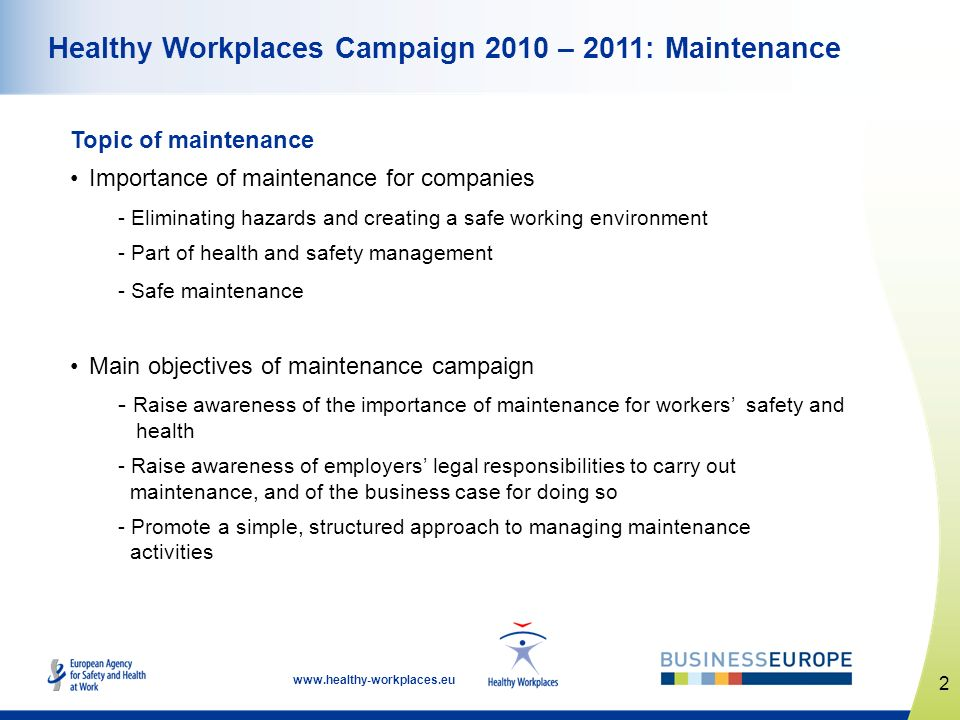 Healthy Workplaces Campaign 2010 – 2011: Maintenance