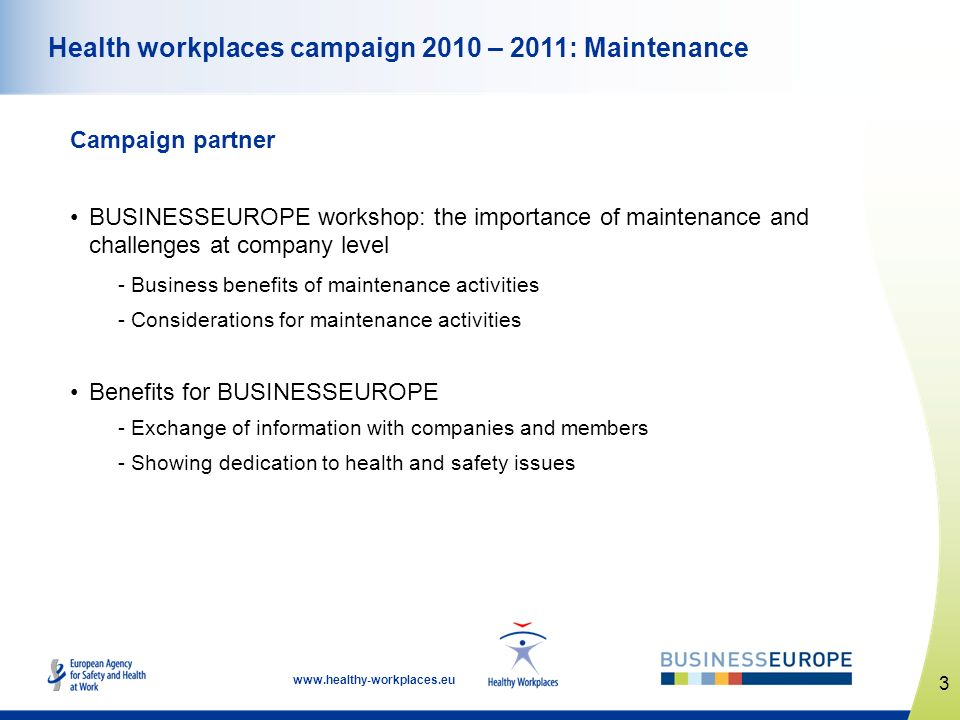 Health workplaces campaign 2010 – 2011: Maintenance