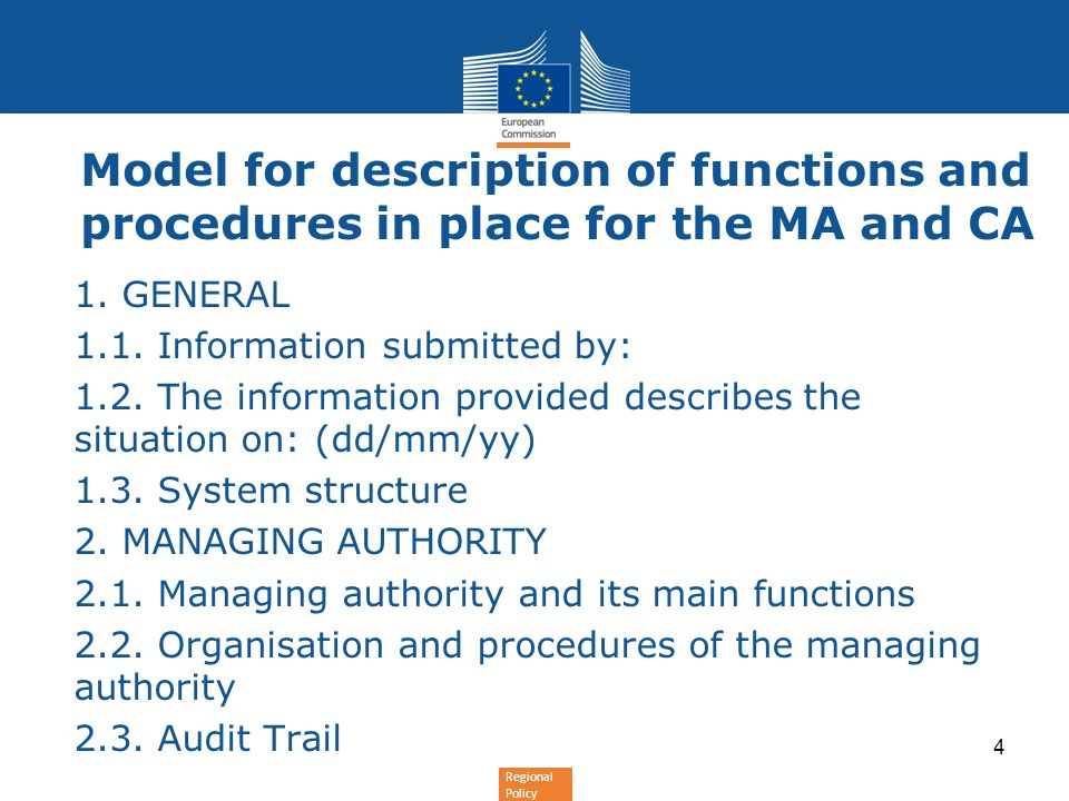 Model for description of functions and procedures in place for the MA and CA