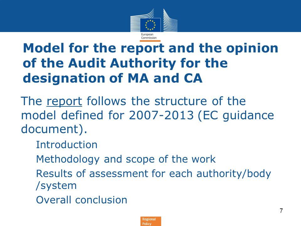 Model for the report and the opinion of the Audit Authority for the designation of MA and CA