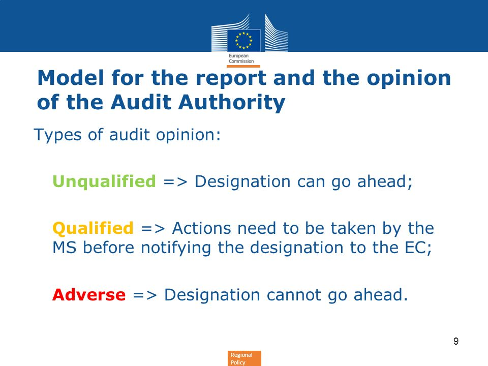 Model for the report and the opinion of the Audit Authority