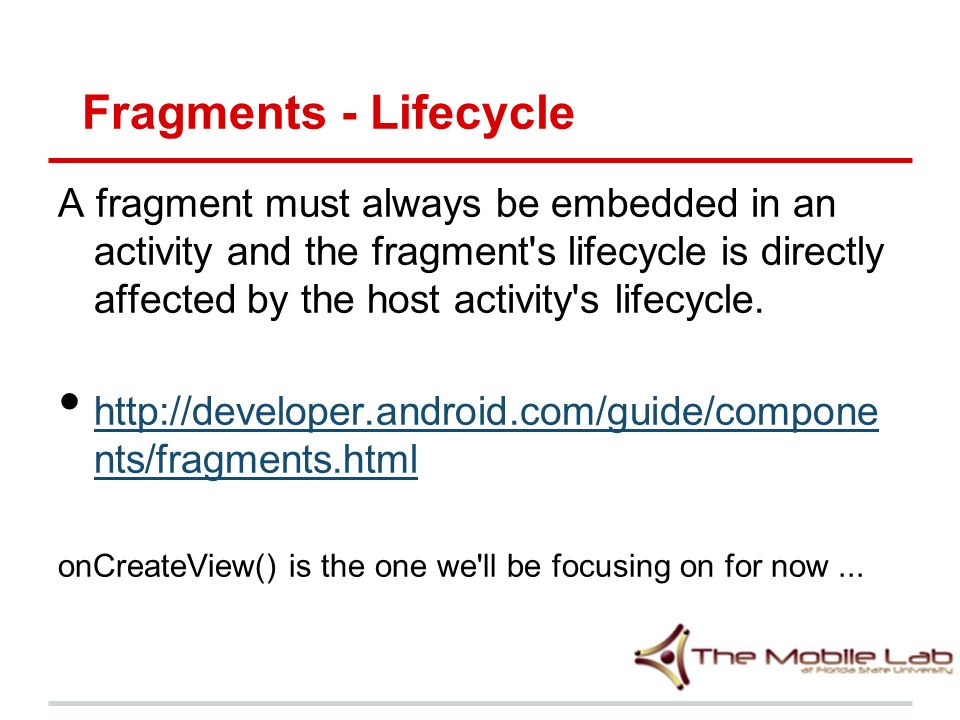 Fragments - Lifecycle