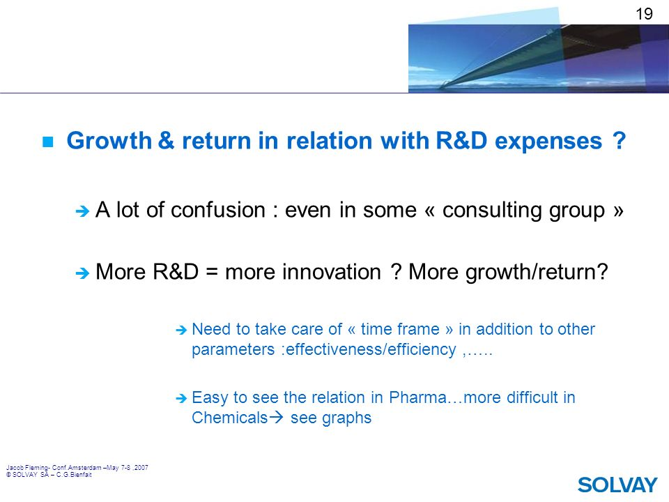 Growth & return in relation with R&D expenses