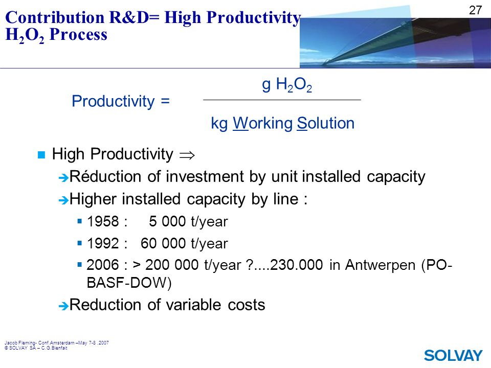 Contribution R&D= High Productivity H2O2 Process