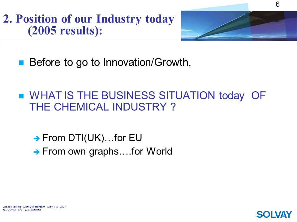 2. Position of our Industry today (2005 results):
