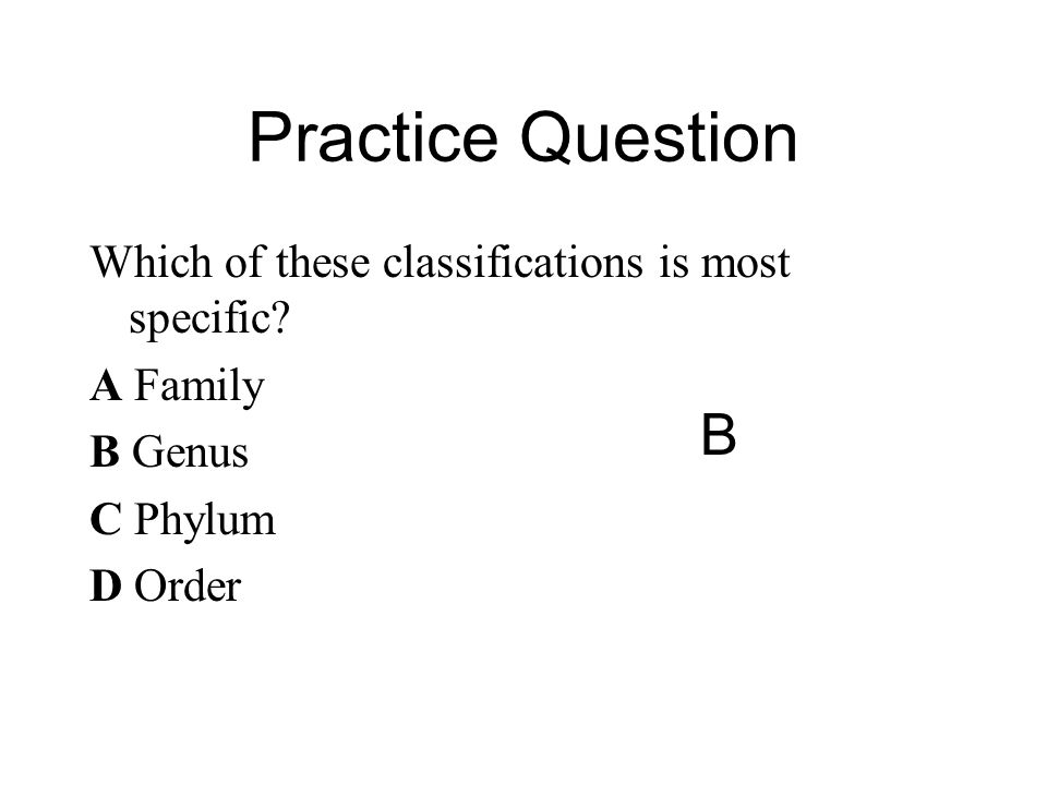 Practice Question B Which of these classifications is most specific