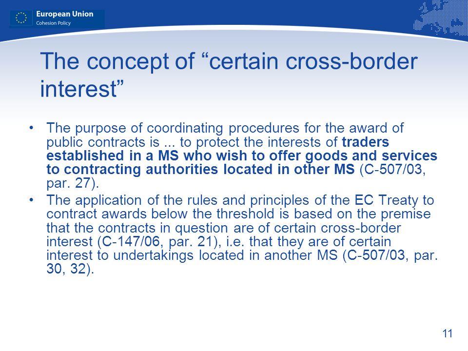 The concept of certain cross-border interest