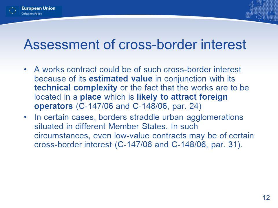 Assessment of cross-border interest
