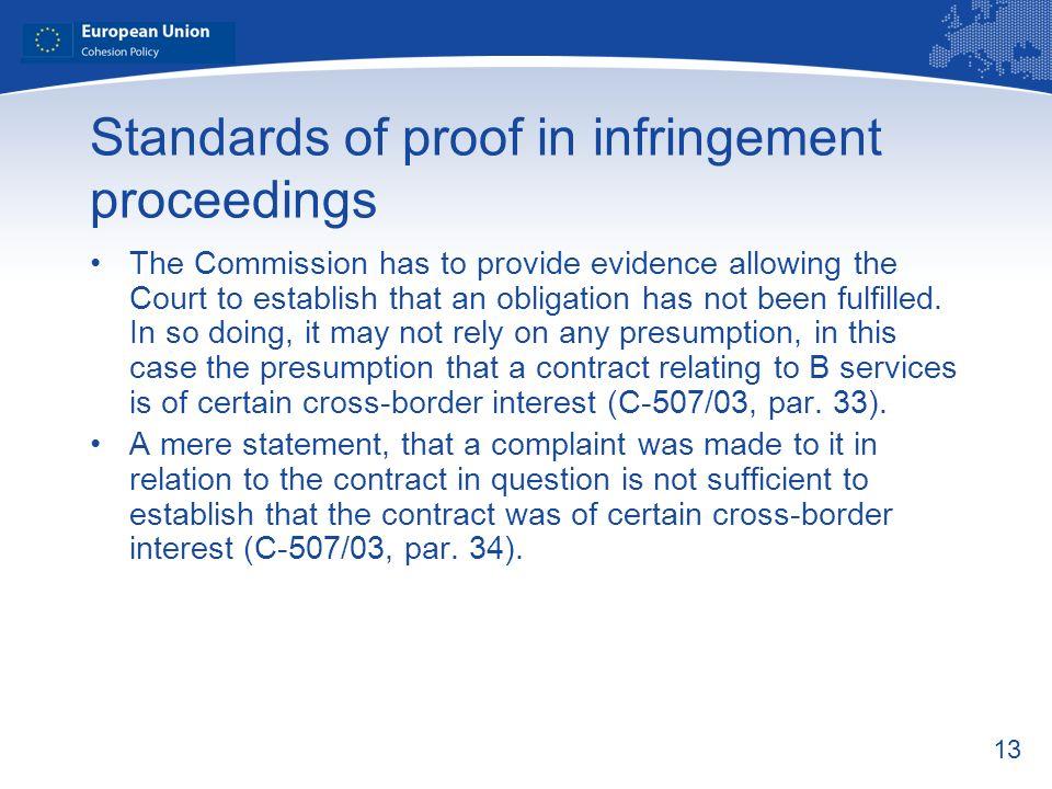 Standards of proof in infringement proceedings