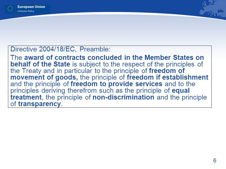 Directive 2004/18/EC, Preamble: