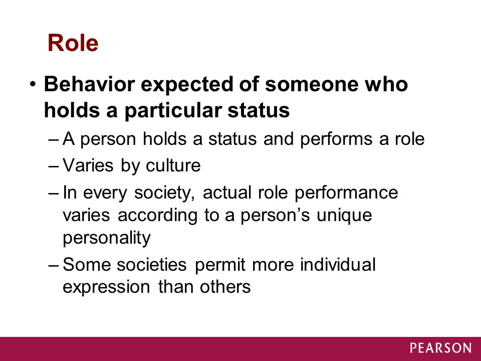 Role Behavior expected of someone who holds a particular status