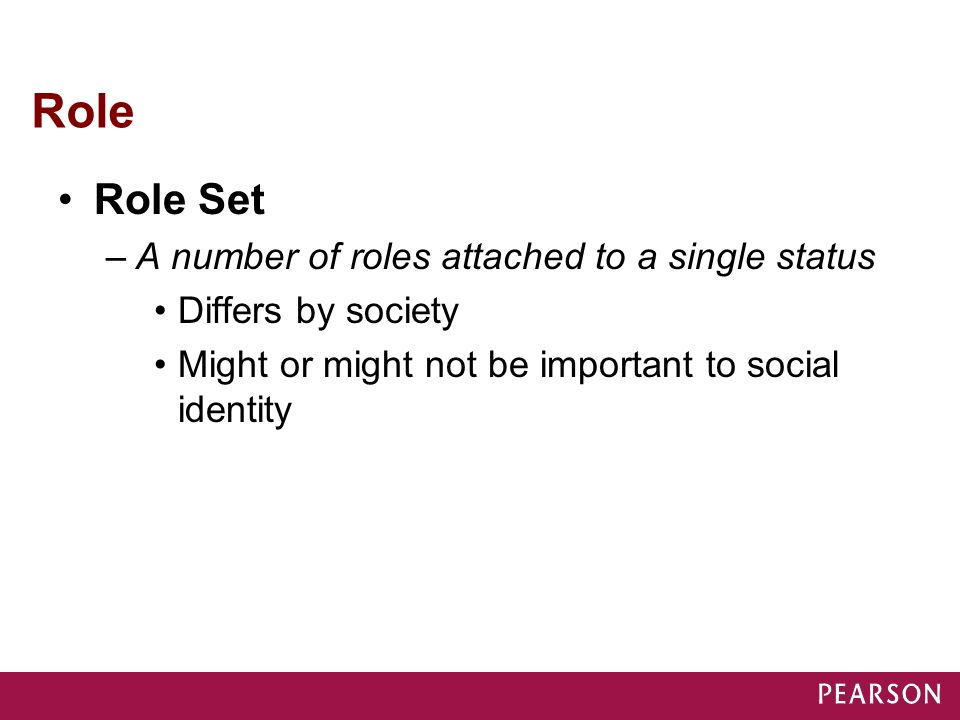 Role Role Set A number of roles attached to a single status