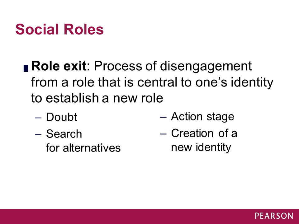 Module 16 Social Roles. Role exit: Process of disengagement from a role that is central to one's identity to establish a new role.