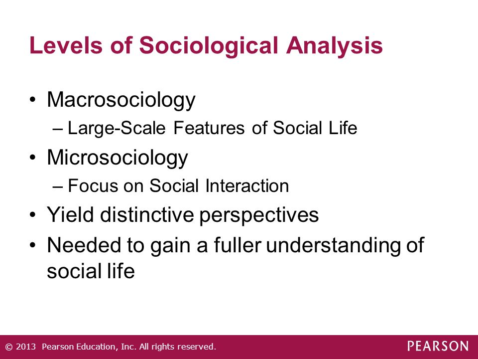 Levels of Sociological Analysis