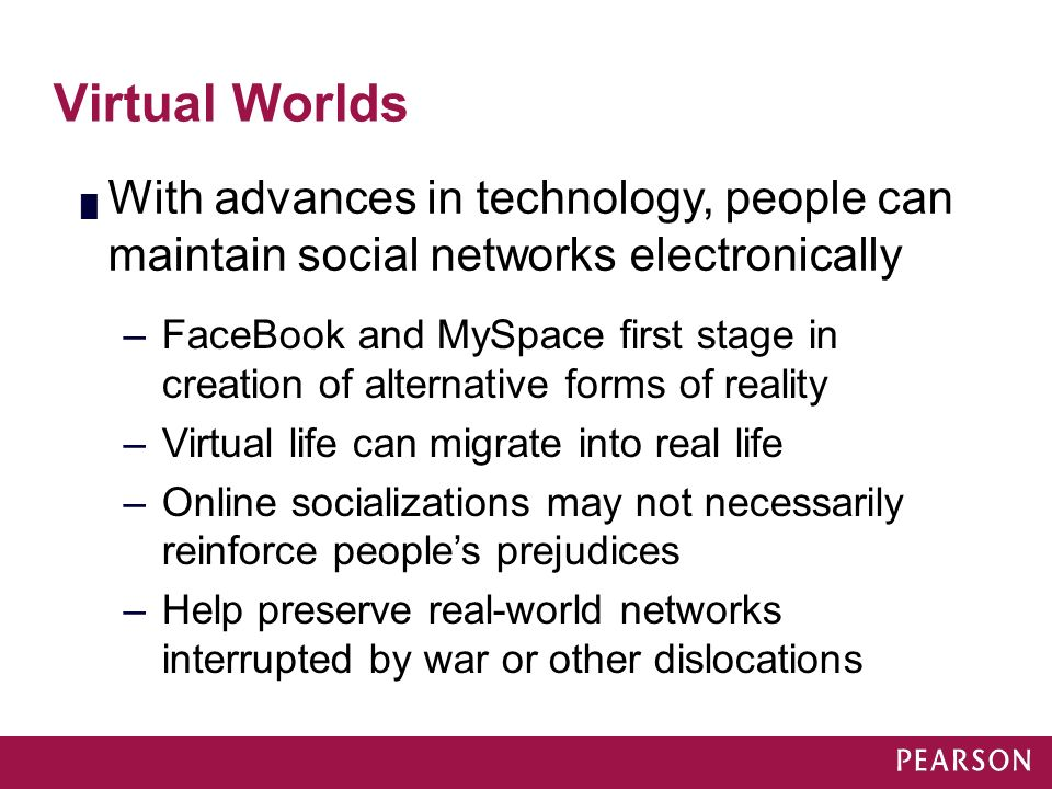 Module 16 Virtual Worlds. With advances in technology, people can maintain social networks electronically.