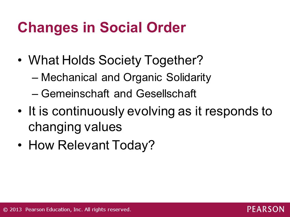 Changes in Social Order