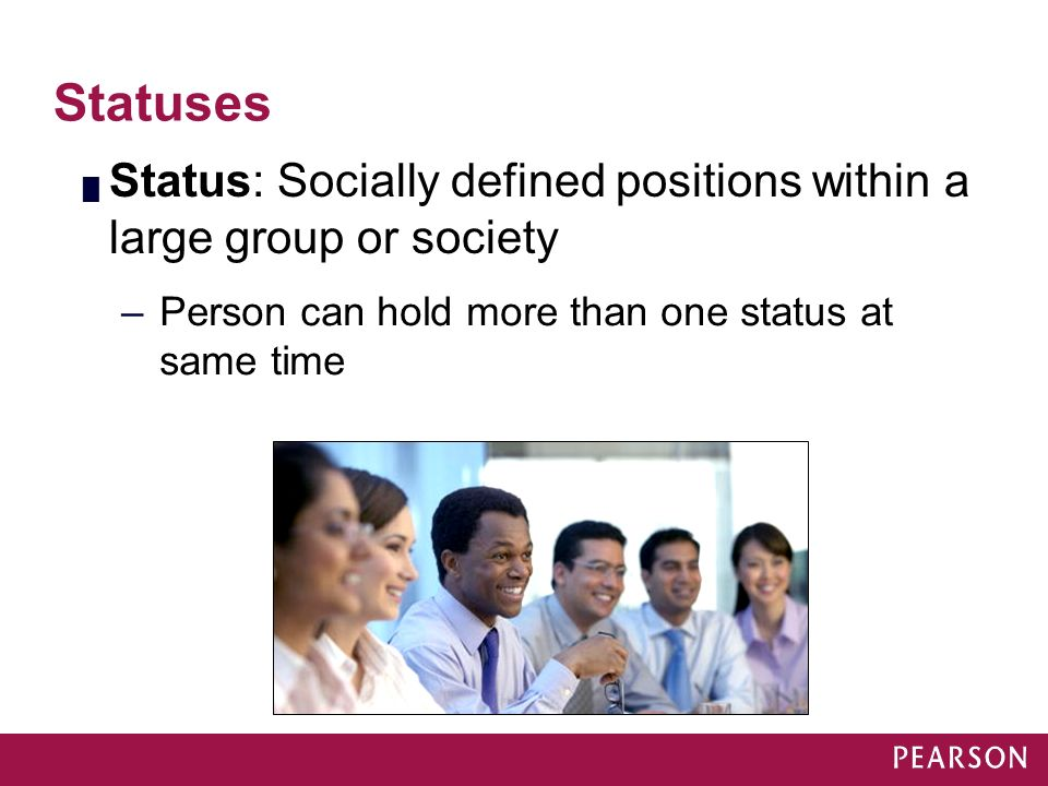 Module 16 Statuses. Status: Socially defined positions within a large group or society.