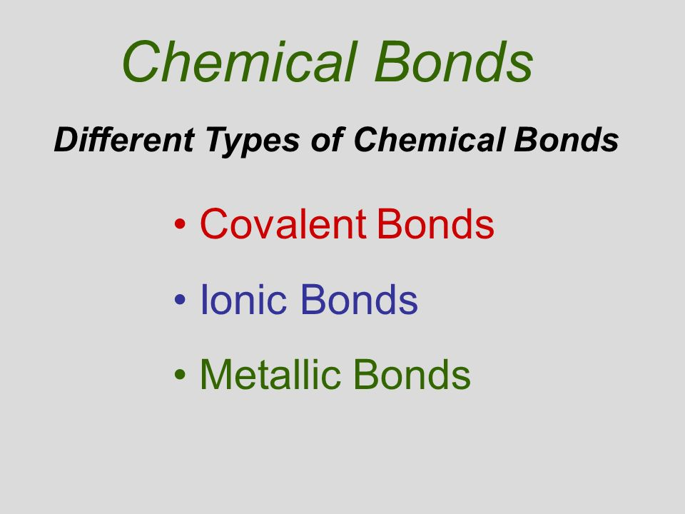 different types of chemical bonding Task now that you have studied the different types of chemical bonds (ionic,  covalent, and metallic), create a clay animation model that will help the students  in.