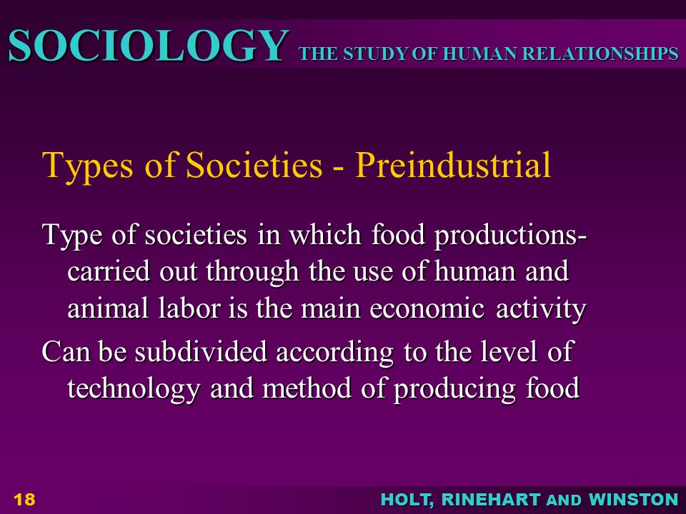 Types of Societies - Preindustrial