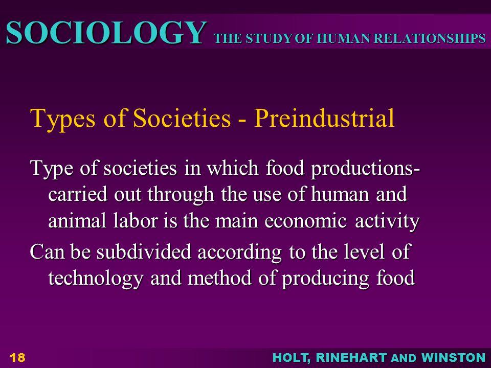 Types of Societies - Preindustrial