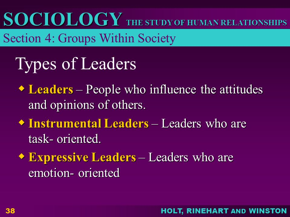 Types of Leaders Section 4: Groups Within Society