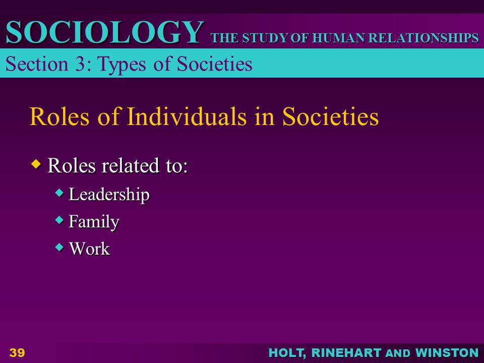 Roles of Individuals in Societies