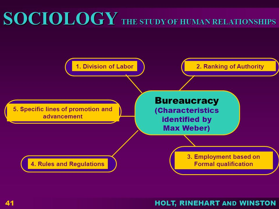 Bureaucracy (Characteristics identified by Max Weber)